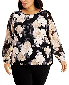 Plus Size Printed Chiffon-Sleeve Top