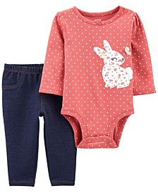 Baby Girl 2-Pc. Bunny Peplum Bodysuit Pant Set