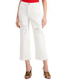 GUESS Ripped Cropped Wide-Leg Jeans