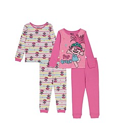 Trolls by DreamWorks Toddler Girl 4 Piece Pajama Set