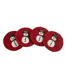 Wool Snowman Coasters - set of 4
