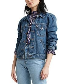 Cotton Puff-Sleeve Denim Trucker Jacket