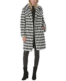 Houndstooth-Print Faux-Fur Coat