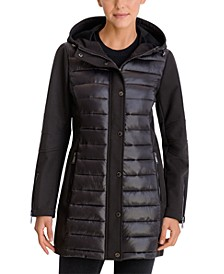 Mixed-Media Hooded Water-Resistant Coat