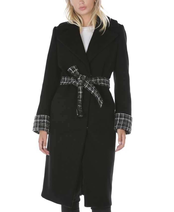 Tahari - Plaid Belted Wrap Coat