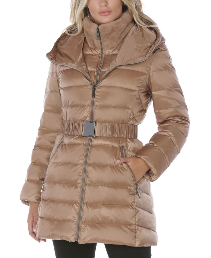 Tahari - Faux-Fur Trim Hooded Puffer Coat