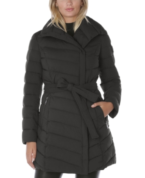 Tahari ASYMMETRICAL PACKABLE PUFFER COAT