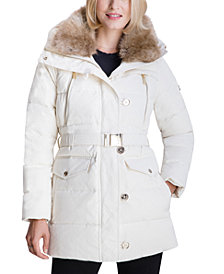 MICHAEL Michael Kors Faux-Fur-Collar Down Puffer Coat, Created for Macy's