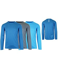 Men's Long Sleeve Moisture-Wicking Performance Tee, Pack of 3