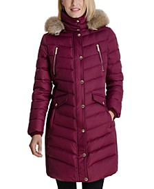 Faux-Fur Trim Hooded Down Coat, Created for Macy's