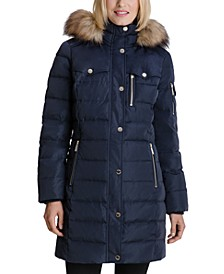 Faux-Fur-Trim Hooded Down Coat, Created for Macy's