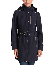 Petite Hooded Belted Raincoat, Created for Macy's