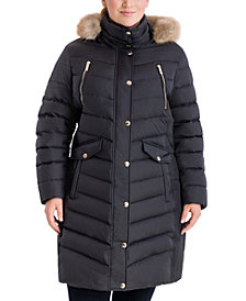 Michael Michael Kors Plus Size Faux-Fur-Trim Hooded Down Puffer Coat