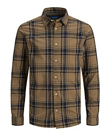 Men's Essential Flat Collar Long Sleeve Check Shirt