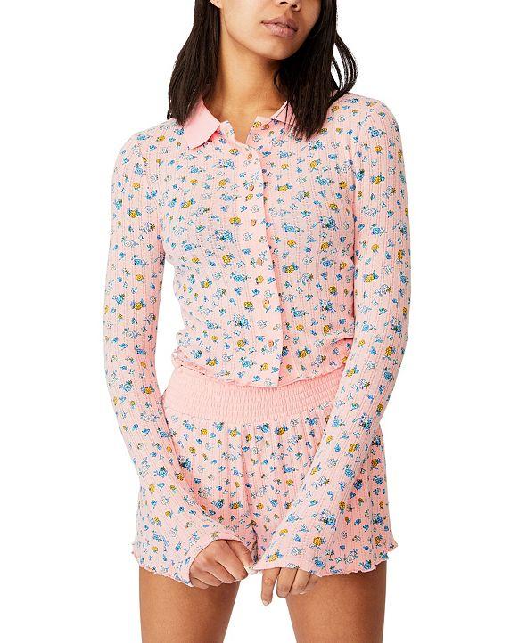 COTTON ON Pointelle Long Sleeve Lounge Polo Shirt