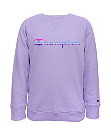 Big Girls Rainbow Script Fleece Crew