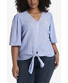 Trendy Plus Size Tie Front V-Neck Top