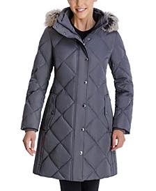 Faux-Fur-Trim Hooded Down Puffer Coat