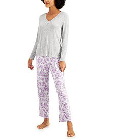 Lace-Trim Top & Printed Pants Pajama Set, Created for Macy's