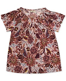Printed Pleated-Neck Top, Created for Macy's