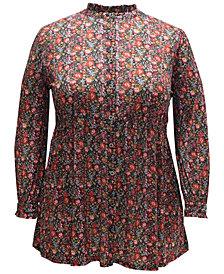 Style & Co Plus Size Floral-Print Shirt, Created for Macy's