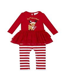 Baby Girls Tutu Onsie with Christmas Reindeer Applique