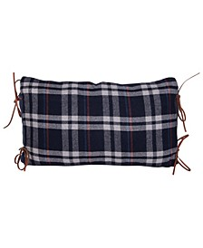 """Plaid Cotton Flannel Lumbar Pillow with Leather Ties, 24"""" x 16"""""""