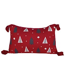 """Cotton Knit Lumbar Pillow with Trees Tassels, 24"""" x 16"""""""