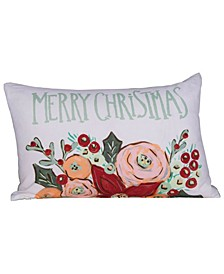"""Reversible Embroidered """"Merry Christmas"""" Cotton Lumbar Pillow with Flowers Green Cotton Velvet Back, 24"""" x 16"""""""