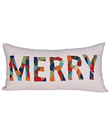 "Rectangle ""Merry"" Cotton Lumbar Pillow with Appliqued Beads, 24"" x 12"""