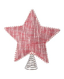 Cotton Woven Star Shaped Tree Topper with Stuffing Decorative Trim