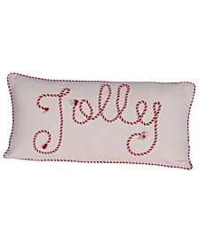"""Appliqued """"Jolly"""" Square Cotton Lumbar Pillow with Piped Edge, 24"""" x 12"""""""