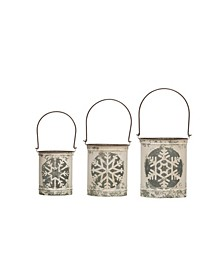 Distressed Metal Lanterns with Snowflake Cutouts Handles Set of 3 Sizes