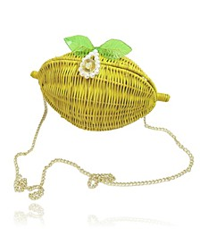 Lemon Straw Clutch with Pearl Clasp