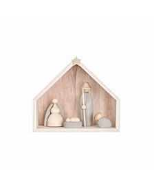 Wood Cement Nativity Figurine Set of 5 Pieces