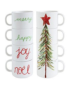 Stacked Stoneware Mugs with Holiday Wording Puzzle-Style Christmas Tree Set of 4 Pieces