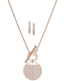 Rose Gold-Tone Pavé Coin Pendant Necklace & Hoop Earrings Set
