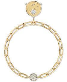 Gold-Tone Crystal Sun/PASSIONATE Fire Medallion Magnetic Link Bracelet
