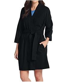 Plus Size Short Cotton Wrap Robe