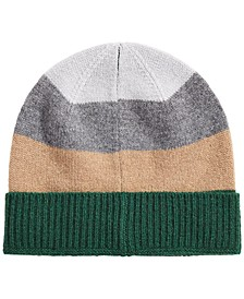 Men's Colorblocked Cashmere Beanie, Created for Macy's