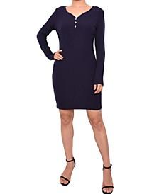 Juniors' Ribbed Henley Bodycon Dress