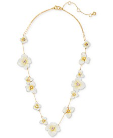 "Gold-Tone Cubic Zirconia Flower Station Necklace, 17"" + 3"" extender"
