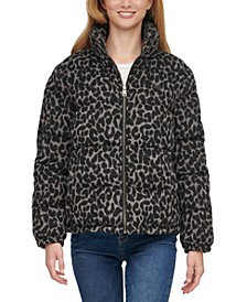Animal-Print Cropped Puffer Jacket