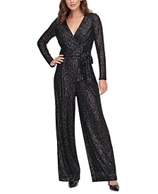 Silver Long-Sleeve Jumpsuit