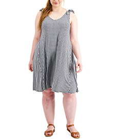 Petite Gingham-Print Tie-Strap Dress, Created for Macy's