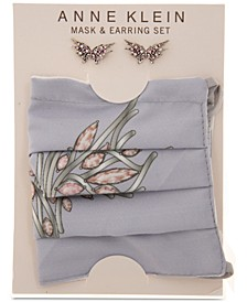 Silver-Tone Crystal Butterfly Stud Earrings & Face Mask Set