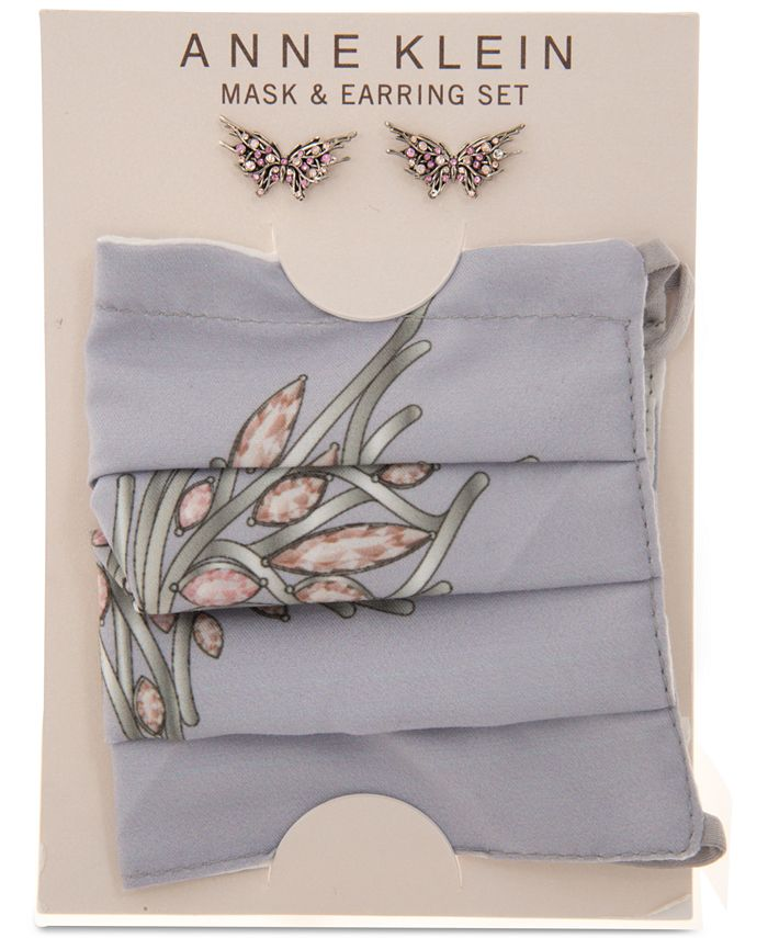 Anne Klein - Silver-Tone Crystal Butterfly Stud Earrings & Face Mask Set