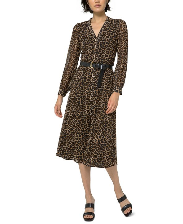 Michael Kors Printed Belted Dress