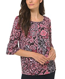 Plus Size Arabesque Paisley-Print Top