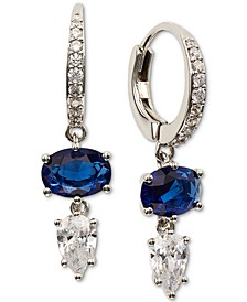 Silver-Tone Double Crystal Charm Hoop Earrings, Created for Macy's